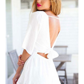 Fashion Lace Hollow Bowknot Half Sleeve Open Back Rompers