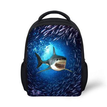 Cool Backpack school FORUDESIGNS Printing 3d Shark School Bags for Baby Boys Cool Little Kids Dolphin Satchel Bookbag Classic Pre Child Schoolbags AT_52_3