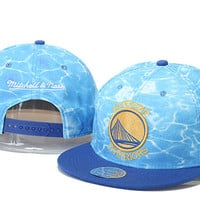 Golden State Warriors Basketball Logo Cool Blue Water Mitchell & Ness Hat