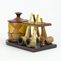 Poker Night Pipe Holder  Stand with Tobacco Holder and Pipes
