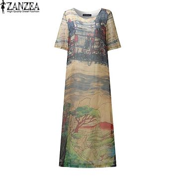 2017 ZANZEA Vintage Women Floral Printed Short Sleeve Silk Maxi Long Dresses Summer O Neck Boho Kaftan Tunic Vestidos Plus Size