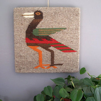 1960 vintage wool hand woven wall hanging by KatyBitsandPieces