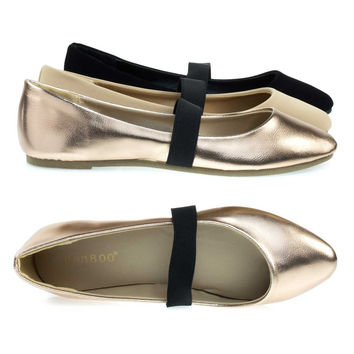 Master03 Rose Gold By Bamboo, Almond Toe Ballet Ballerina Flats W Elastic Mary-Jane Strap