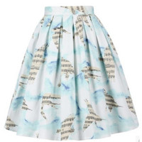 Music Bird Retro Print Pleated Skirt 10235