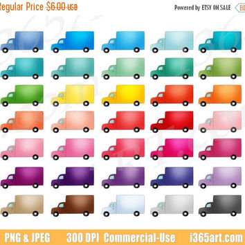 50% OFF Sale Cute Truck Clipart, Truck Clip Art, Moving Van, Transportation Icon, Vehicles, Planner Sticker Graphics, PNG, Commercial