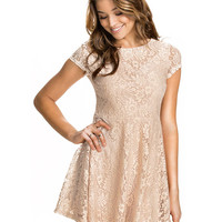 Light Brown Cap Sleeve Floral Lace Skater Dress