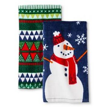 Blue Snowman Terry Kitchen Towel (2 pack)