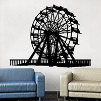 Ferris Wheel Wall Decals Amusement Park Poster Design Childrens Decor Kids Vinyl Sticker Wall Decal Nursery Baby Room Bedroom Game Room C536