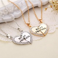 Christmas Gifts Charming Splice Heart Pendant Best Friend Letter Necklace Women Gifts 2 Color Pick Jewelry