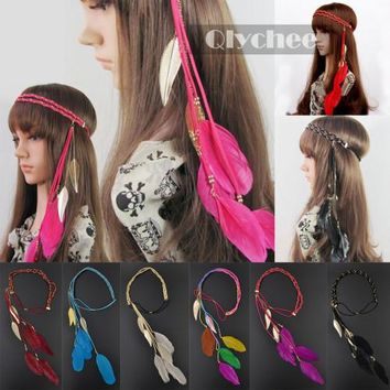 Fashion Wedding Party Hairpiece Hair Accessories Band Indian Peacock Feather Pendant Headband For Women Knitted Belt Hairband