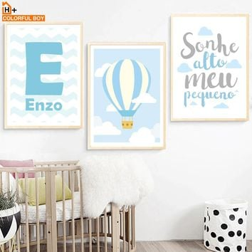 COLORFULBOY Hot Balloon Cloud Dream Quote Wall Art Print Canvas Painting Nordic Poster Cartoon Wall Pictures Kids Room Decor