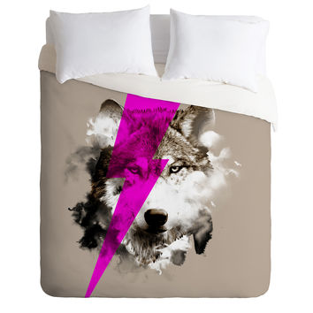 Robert Farkas Wolf Rocks Duvet Cover