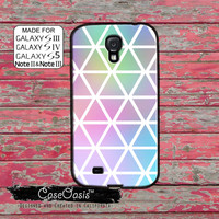 Pastel Watercolor Triangle Pattern Rainbow Cool For Custom Galaxy S5 and S4 and S3 Case and Galaxy Note 2 and Note 3 Case