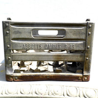Metal Milk Crate, Vintage Milk Crate, Industrial Decor, Rustic, Farmhouse, Country Chic, Abbotts Dairies, Des Moines Iowa