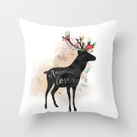 Deer Pillow Decorative - Decor Cover or and insert 16x16 18x18 20x20 - Woodland Deer Silhouette Cushion - Rustic Antler Gift Idea Deer Lover