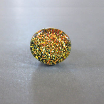 Orange Tie Pin, Dichroic Glass Tie Tack, Dichroic Orange Scarf Pin, Lapel Pin - Blazing Sun - 030 -2