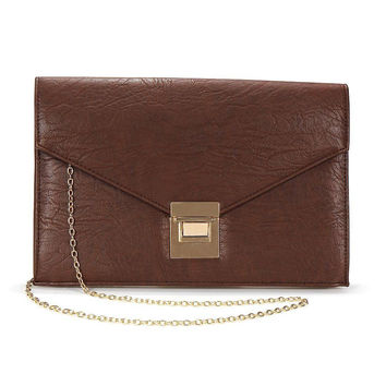 Envelope Clutch In Brown