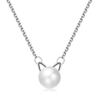 Sterling Silver Cat Necklace - Cute Pearl Cat Ears Pendant Necklace for Women