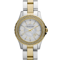 Michael Kors Mini-Size Madison Three-Hand Glitz Watch, Golden/Silver-Color