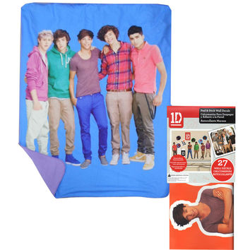 One Direction Throw Blanket Sticker Set 1D Blue Portrait