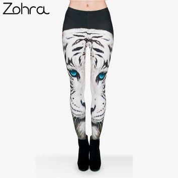 Zohra White Tiger 3d Printing Women Leggings Animal Brand Feminina Leggins Jersey Stretch Seamless Legging Casual Fitness