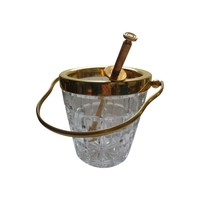 Pre-owned Lead Crystal & Gold Tone Ice Bucket With Tongs