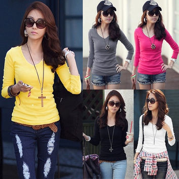 Women basic V neck long sleeve fitted plain top solid stretch shirt  SV006137 = 1902575940