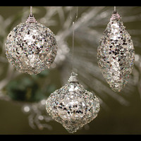 "REFLECTIVE SPARKLE ORNAMENT 4"" SILVER - SET OF 6"