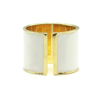 15mm Split Shank Cigar Band Ring in White Epoxy and Gold Tone Finish
