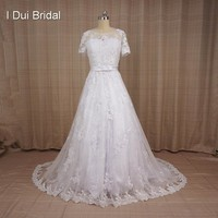 Two Piece Wedding Dresses A line Short Sleeve Lace Bolero Jacket Factory Custom Make Bridal Gown