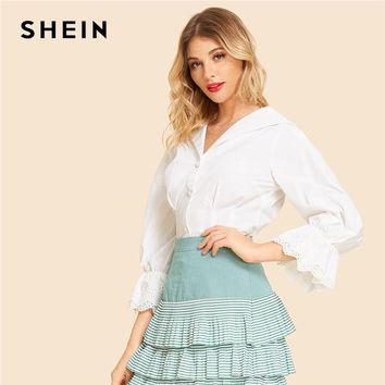 SHEIN White Vintage Elegant Eyelet Embroidered Cuff Button Front Solid Workwear Shirt Autumn Minimalist Women Tops And Blouses