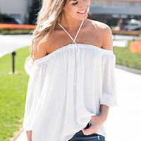 Cloud Watching Off The Shoulder Loose Fit Self Tie Strappy Detail Top (Off White)