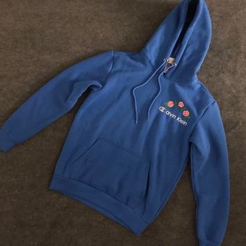 Calvin Klein : Champion Flower Rose Embroidered Sweater Hoodie Pullover