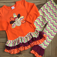 Orange Chevron Turkey Outfit