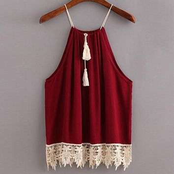 New Sexy Tank Tops Women T Shirt Lace Crop Tops Boho Style Summer Vest Sexy Trimmed Tasselled Drawstring Female Blusas