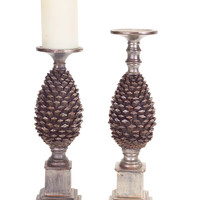 Sub Zero Collection Pinecone Candle Holder (Set of 2)