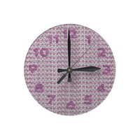 Pink Silver Diamond Studed Gems Round Wallclock