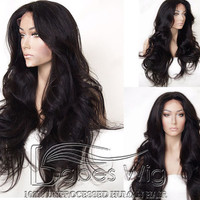 long wavy 100% unprocessed real human hair lace front wigs  with bleached knots human hair wigs for sale