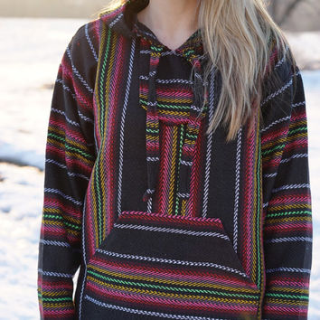 Drug Rug Hoodie Baja Hoodie by Mexican Threads - Pullover Jerga Hippie Sweatshirt | Baja Jacket Poncho hippie Boho Gypsy black pink yellow