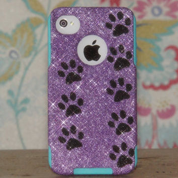 iPhone 4 Case Otterbox Sparkly Glitter Custom Design iPhone 4S Orchid Purple Glitter Black Paw Prints