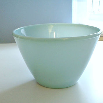 Vintage Fire King Turquoise Blue Splash Proof Mixing Bowl 8 1/2 Inch Mid Century