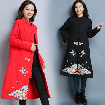 Women's Fashion Winter Cotton Linen Cotton Embroidery Jacket [288440287273]
