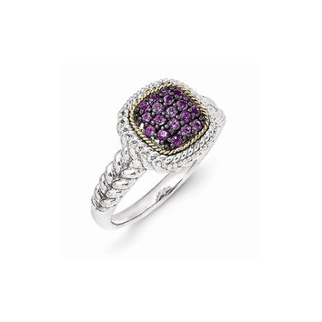 Sterling Silver w/14k Gold and Black Rhodium Amethyst Ring