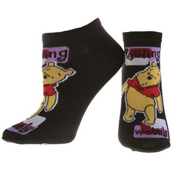 DCCK8UT Winnie The Pooh Feeling Wobbly Black Youth Socks