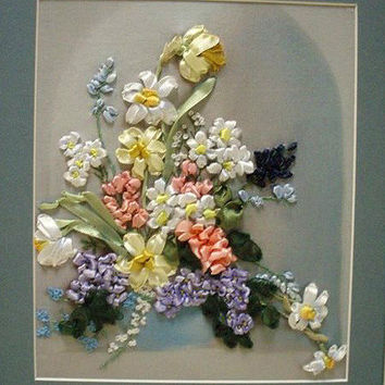 "Paintings, embroidered ribbons ""Spring"""
