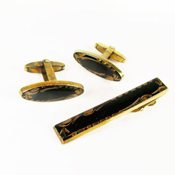 Vintage Cufflink and Tie Clip Set Foster, Made in the USA, Black and Gold / Vintage Wedding Cufflink Set - Boutons de Manchette.