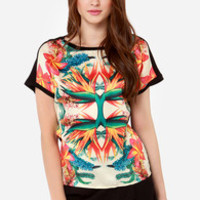 Dex Birds of Paradise Tropical Mirror Print Top