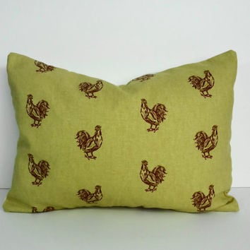 Rooster Decorative Pillow Cover, Throw Pillow Cover, Lumbar Cushion Cover, 12 x 16, gold and red
