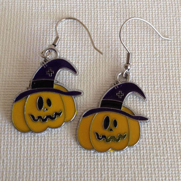 Pumpkin earrings, spooky pumpkins, halloween, fall season, purple and orange pumpkins, scary earrings, nickel free