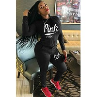 Victoria's Secret autumn and winter new letter embroidery women's long-sleeved sports suit two-piece Black